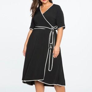 ELOQUII Black and White Wrap Dress Size 14